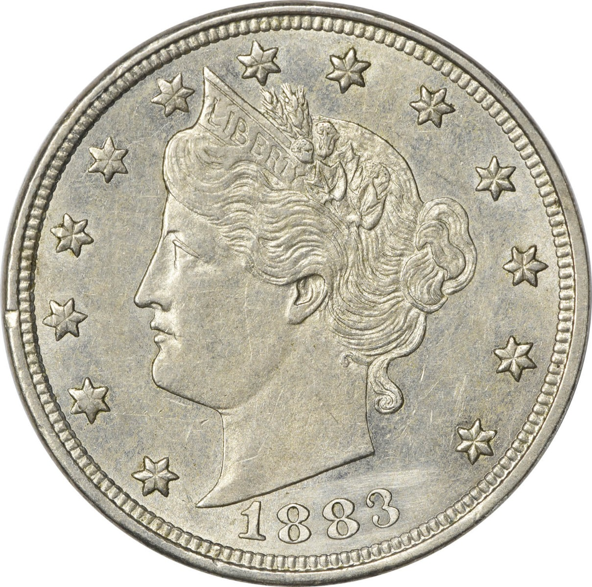 1883 Liberty Nickel No Cents AU Uncertified