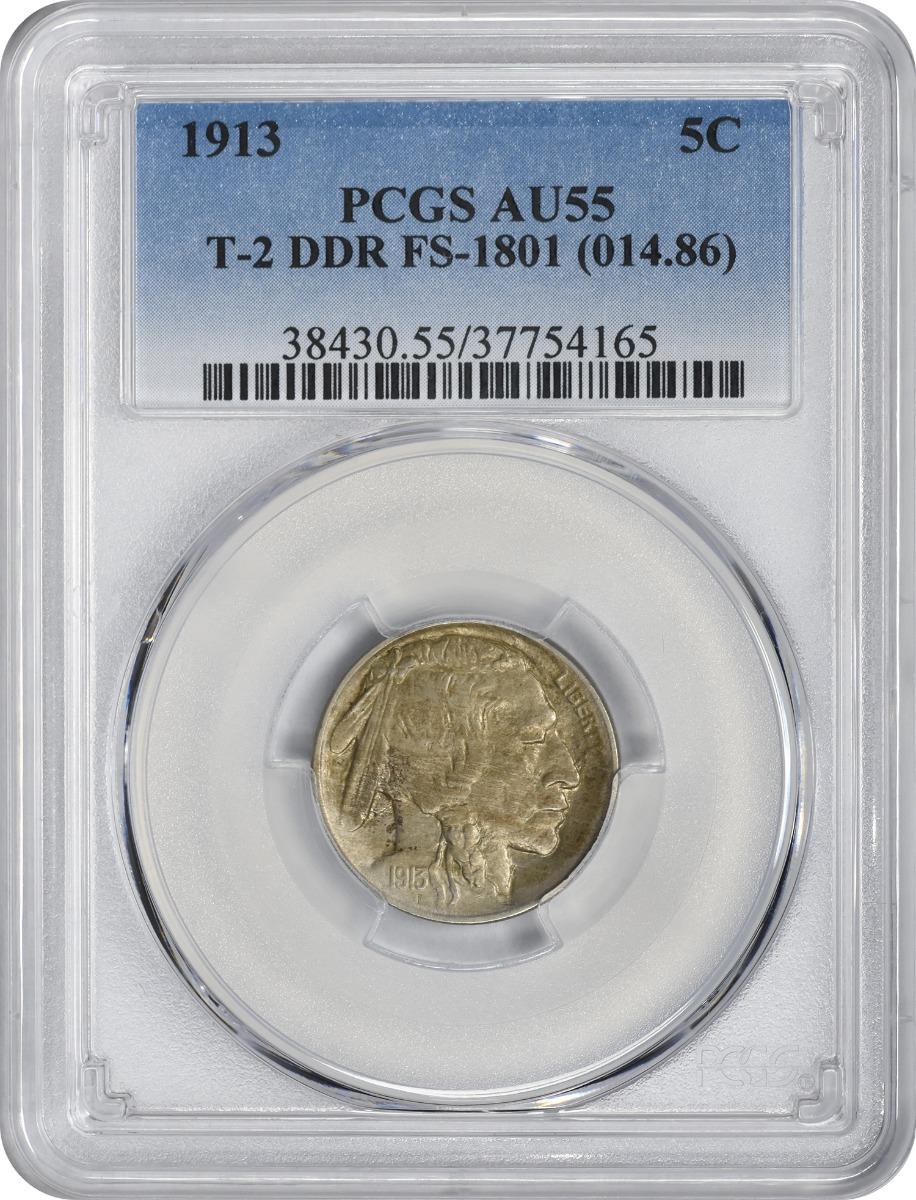 1913  Buffalo Nickel Type 2 DDR FS-1801 AU55 PCGS