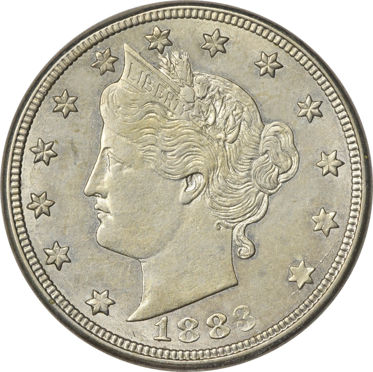 1883 Liberty Nickel With Cents Choice AU Uncertified