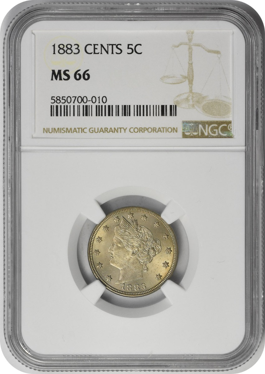 1883 Liberty Nickel With Cents MS66 NGC