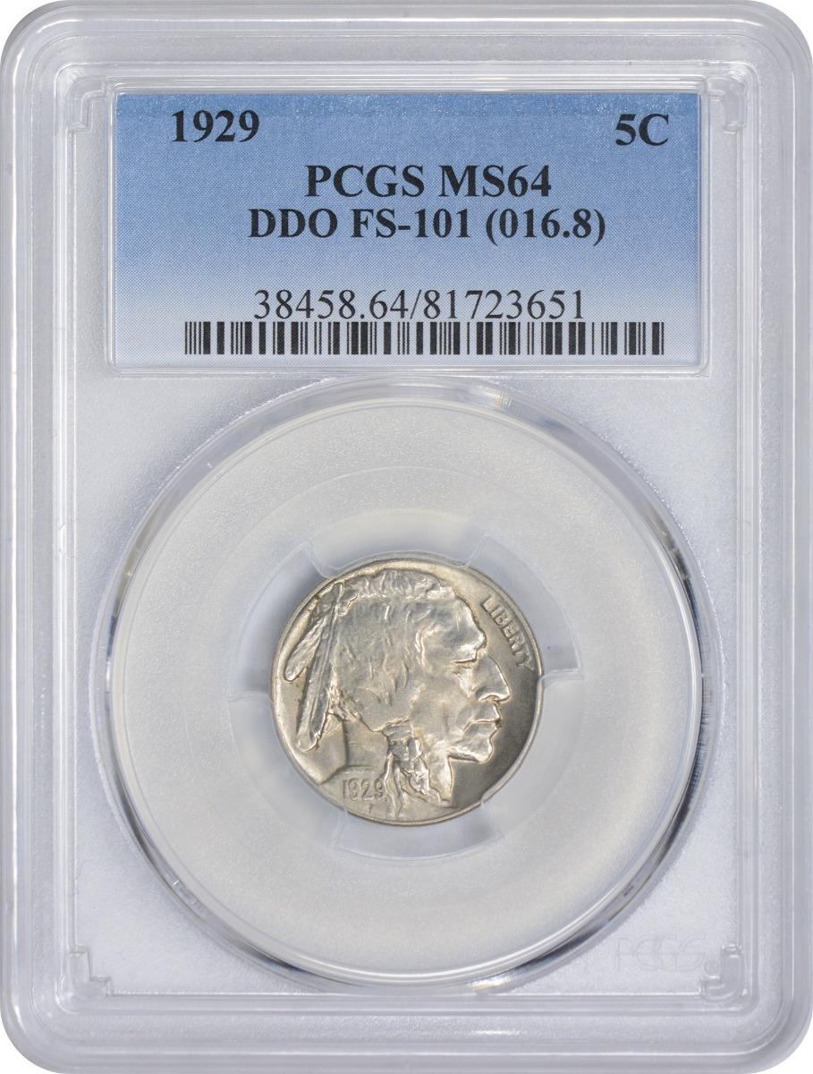 1929 Buffalo Nickel DDO FS-101 MS64 PCGS