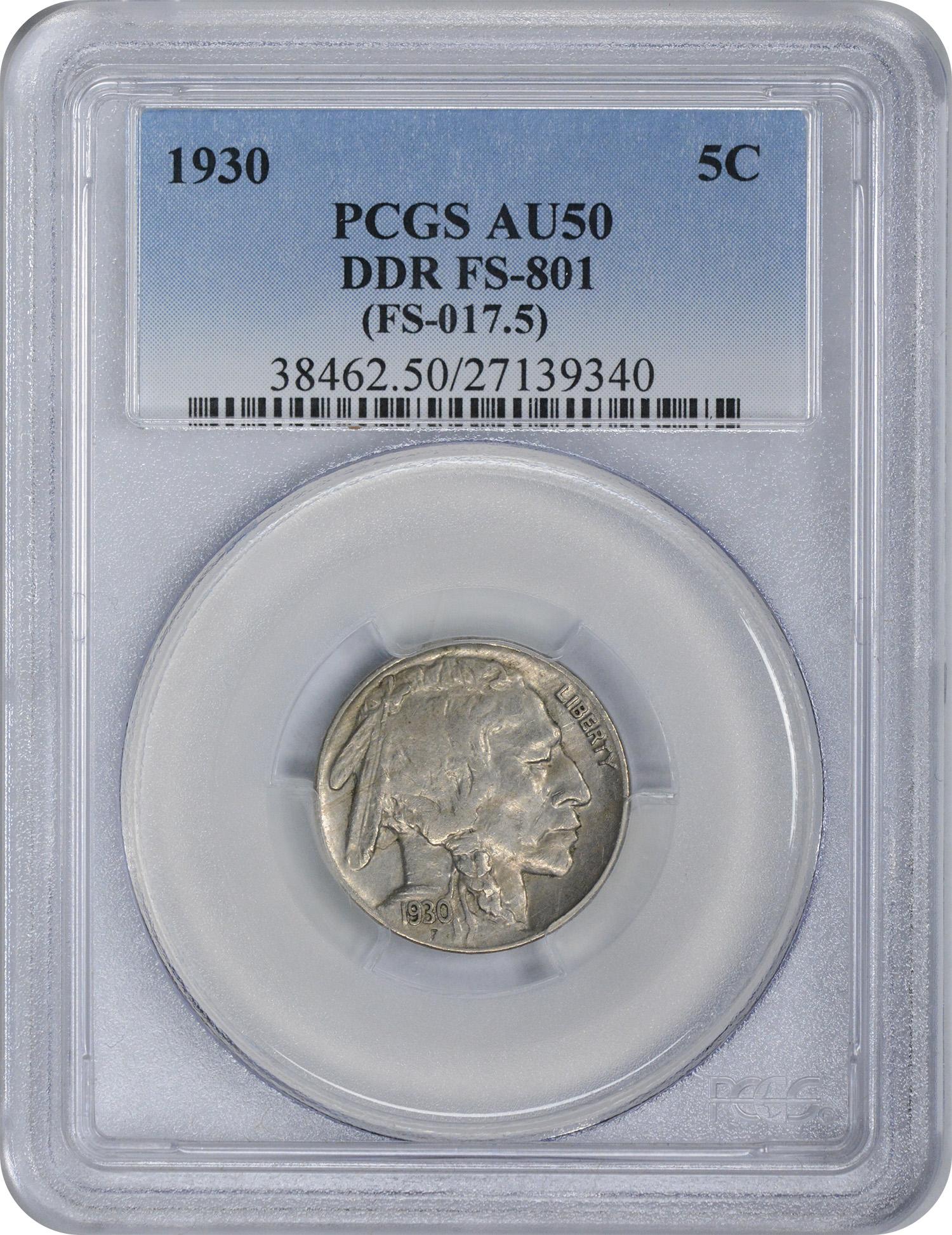 1930 Buffalo Nickel DDR FS-801 AU50 PCGS