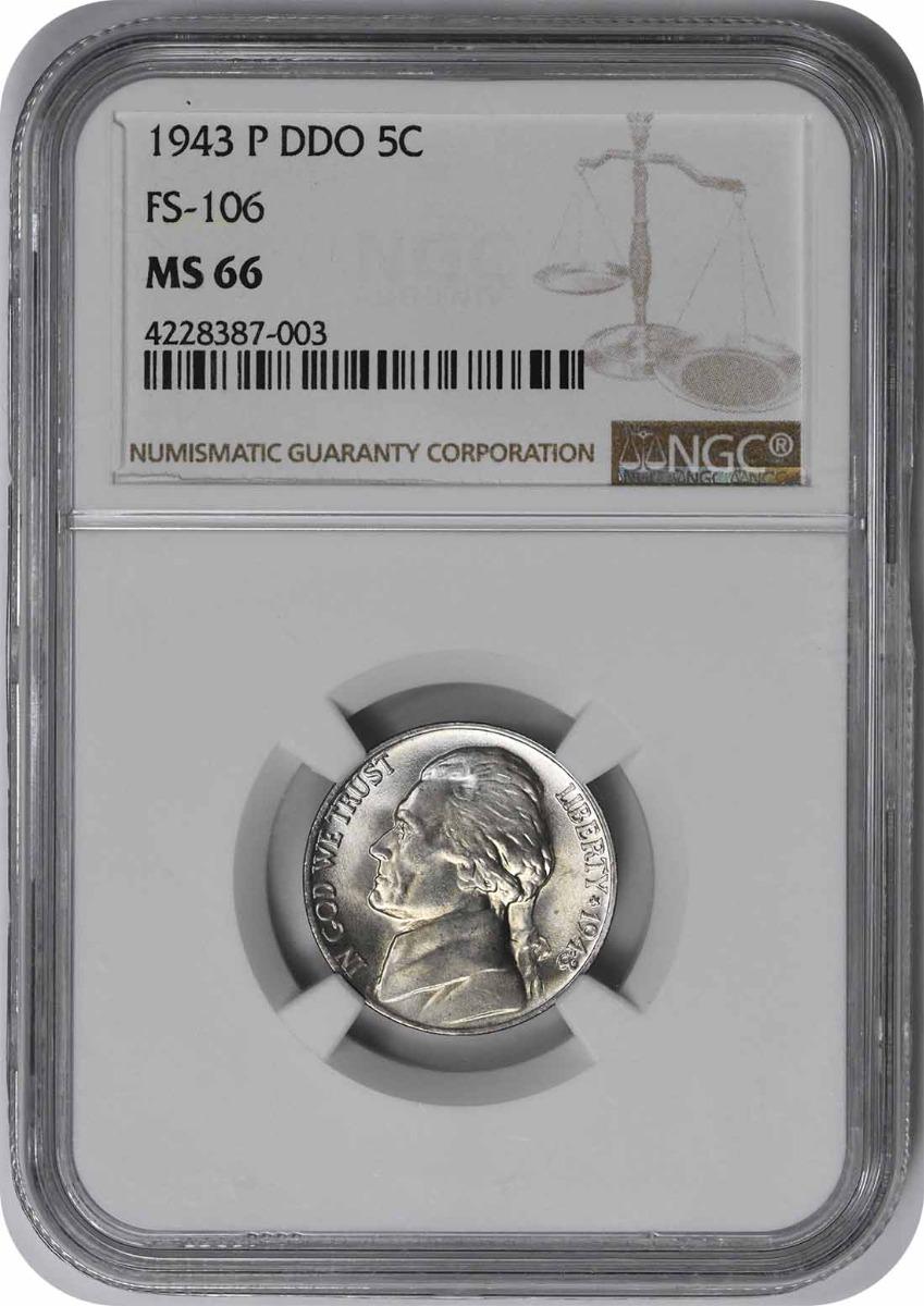 1943-P Jefferson Nickel DDO FS-106 MS66 NGC