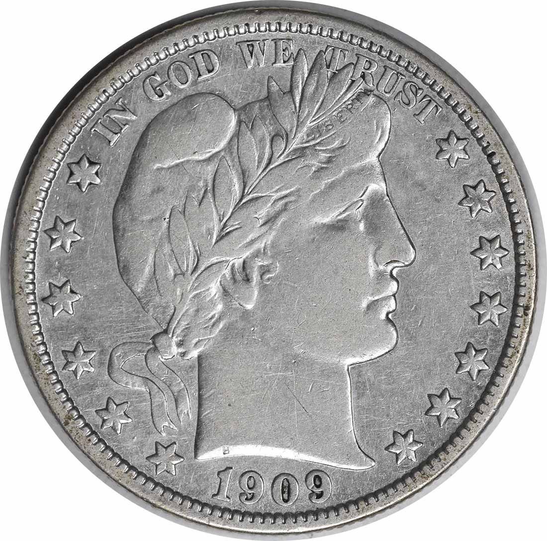 1909-S Barber Silver Half Dollar Inverted S FS-501 EF Uncertified