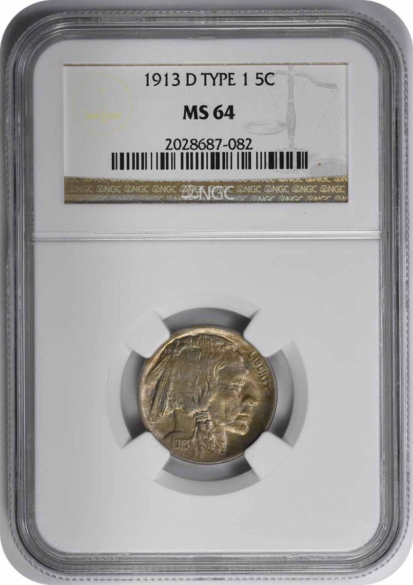 1913-D Buffalo Nickel Type 1 MS64 NGC