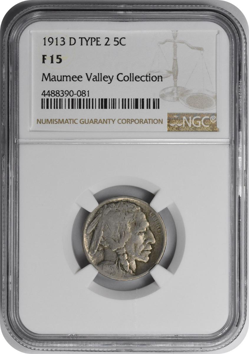 1913-D Buffalo Nickel Type 2 F15 NGC