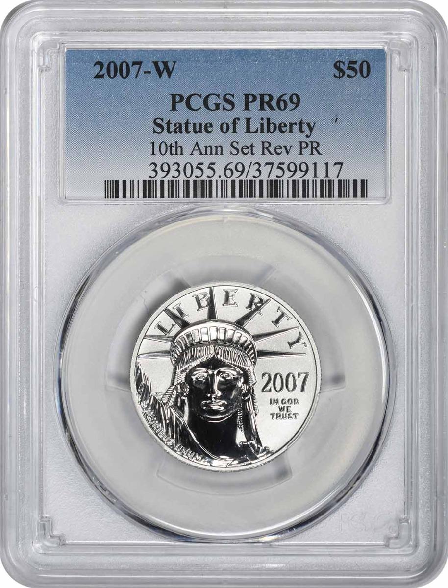 2007-W $50 American Platinum Eagle 10th Anniversary Set Reverse PR69 PCGS