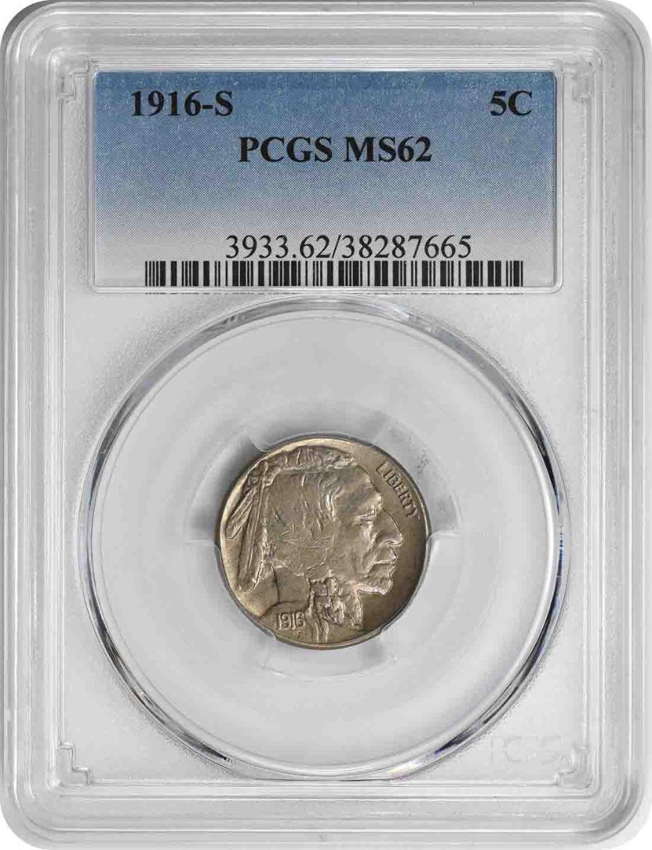 1916-S Buffalo Nickel MS62 PCGS