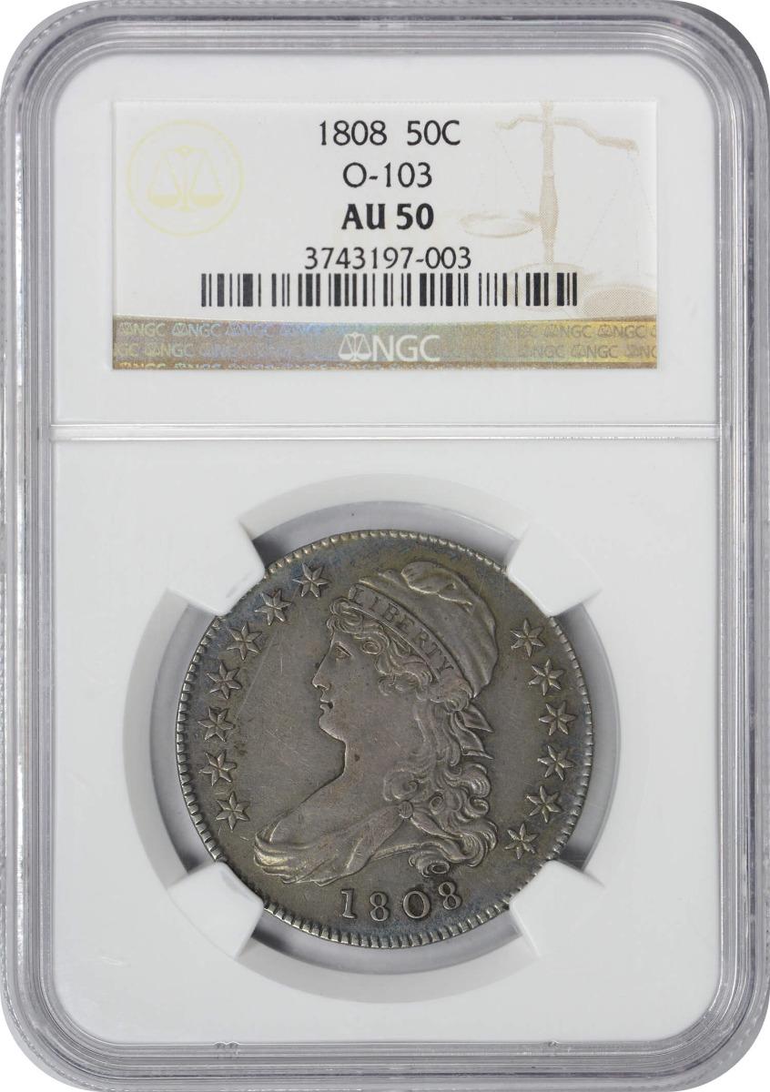 1808 Bust Half Dollar, O-103, AU50, NGC