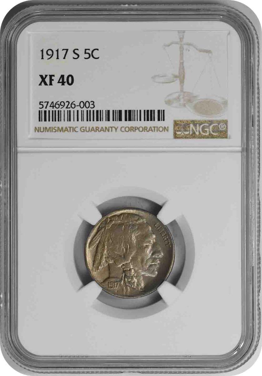 1917-S Buffalo Nickel EF40 NGC