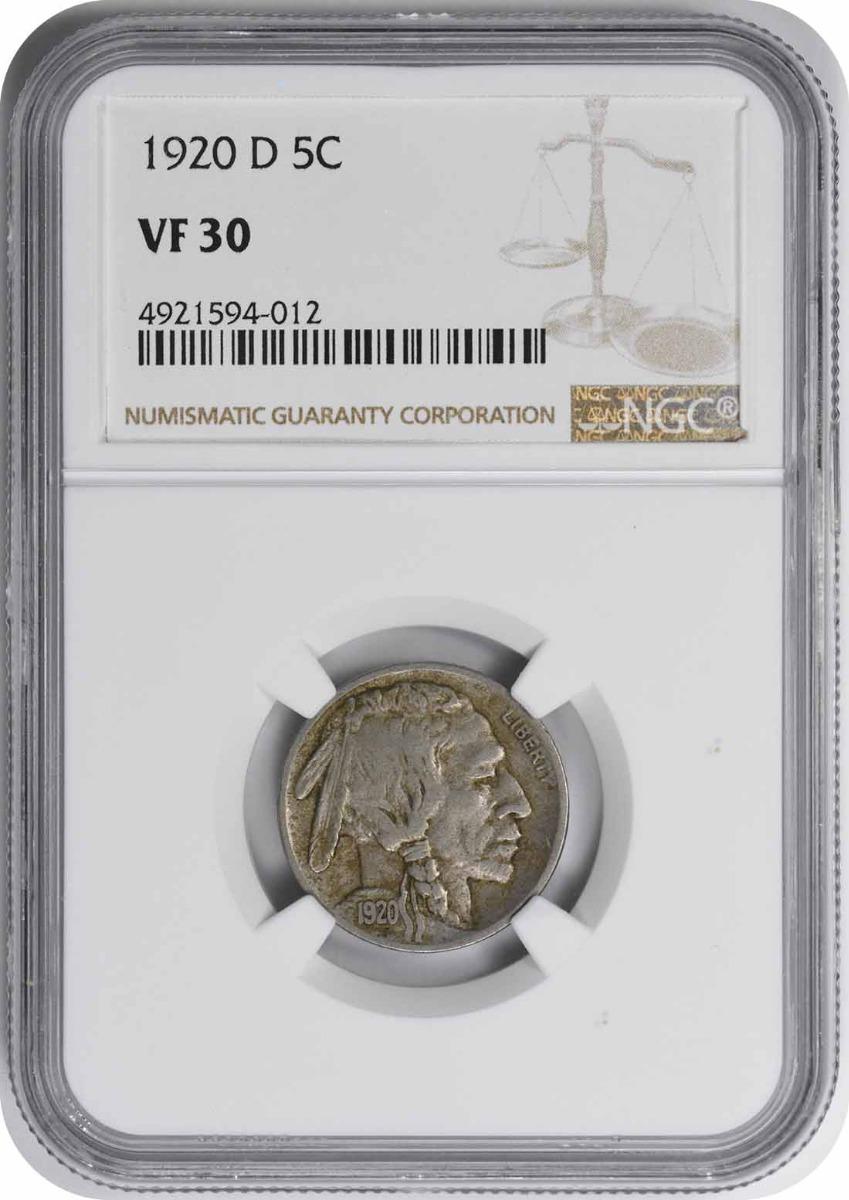 1920-D Buffalo Nickel VF30 NGC