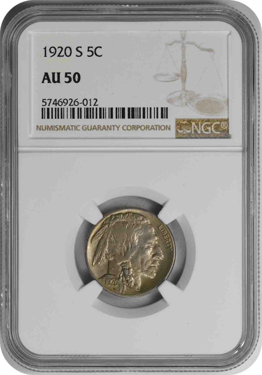 1920-S Buffalo Nickel AU50 NGC