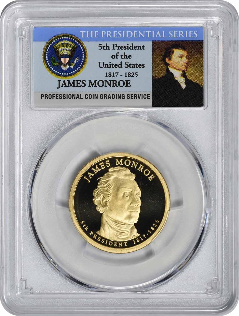 2008-S James Monroe Presidential Dollar, PR70DCAM, PCGS