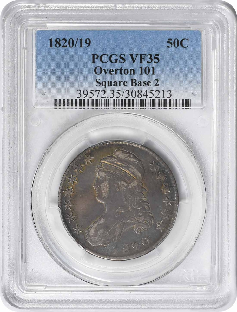 1820/19 Bust Silver Half Dollar Square Base 2 O-101 VF35 PCGS