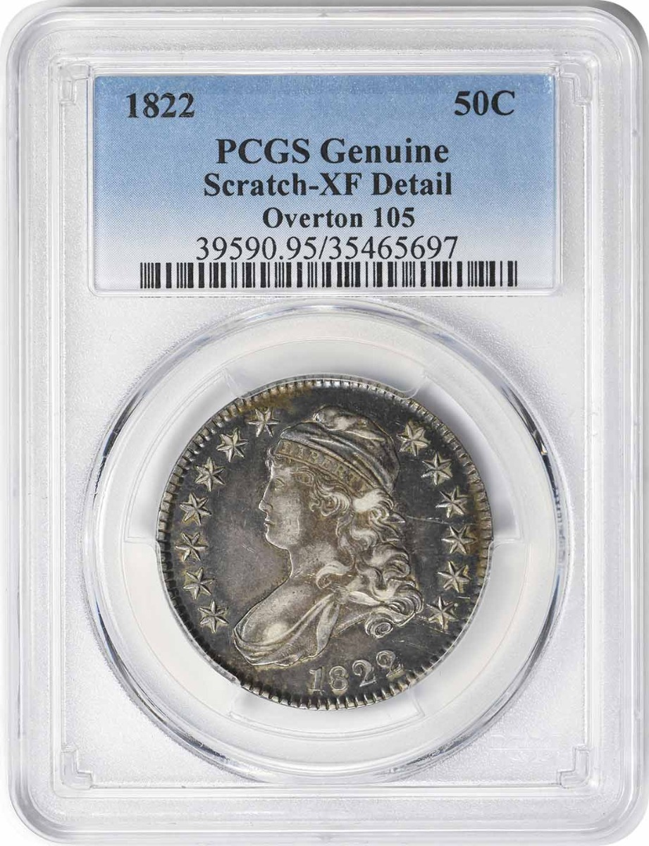 1822 Bust Silver Half Dollar Overton 105 Genuine (Scratch - XF Detail) PCGS