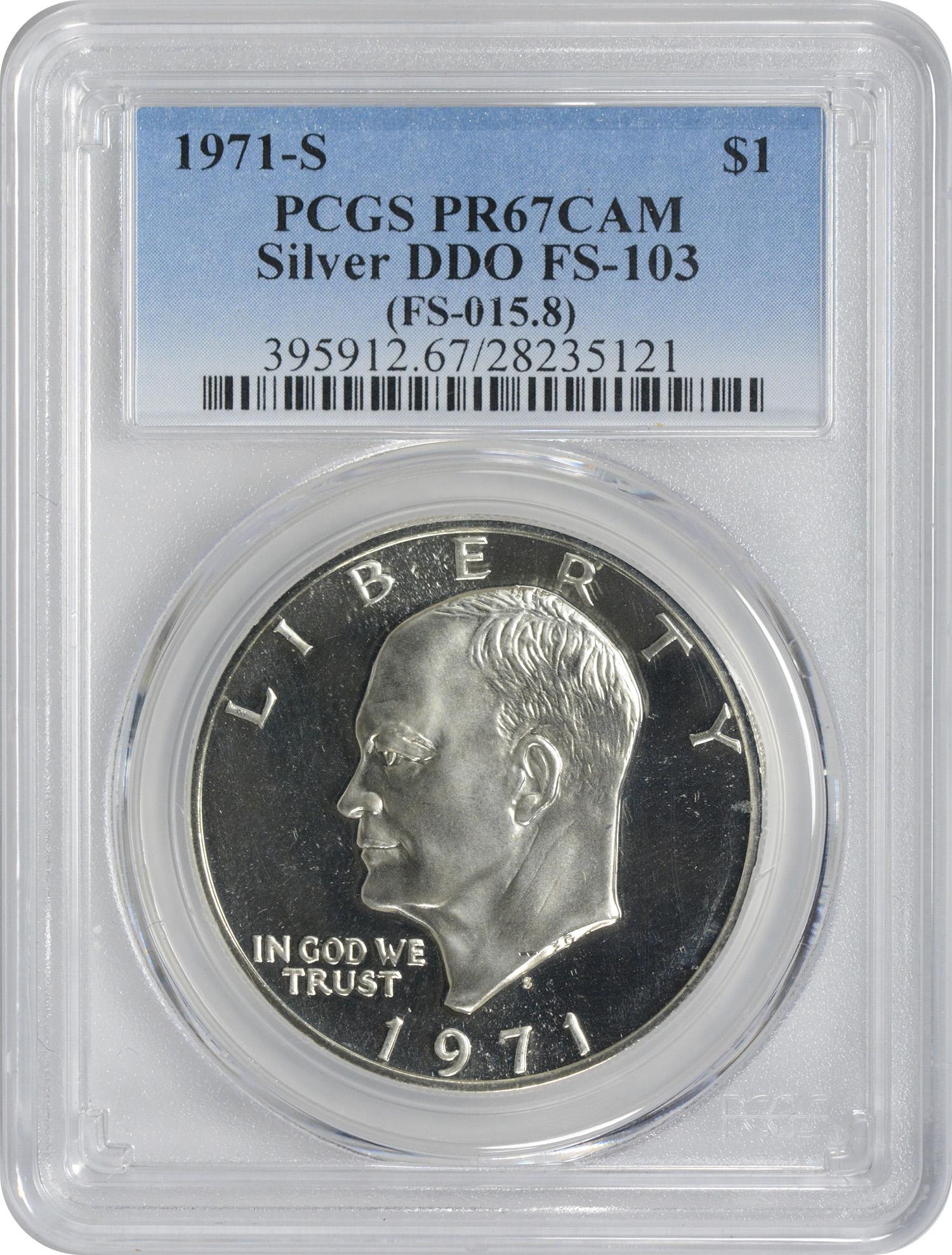 1971-S Eisenhower Silver Dollar, DDO FS-103, PR67CAM, PCGS