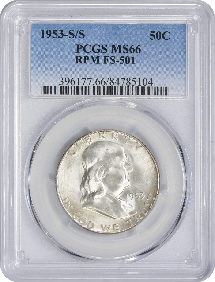 1953-S/S Franklin Silver Half Dollar RPM FS-501 MS66 PCGS