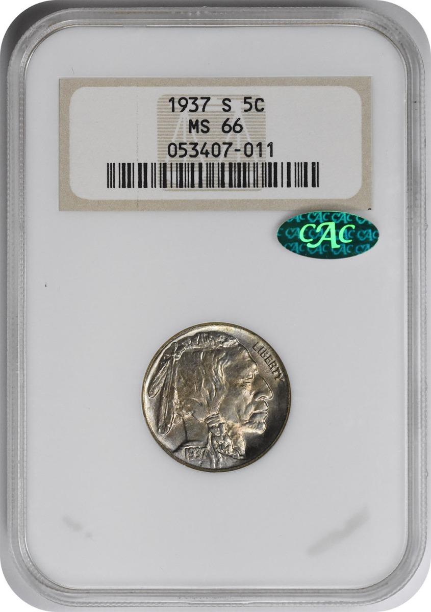 1937-S Buffalo Nickel MS66 NGC (CAC)