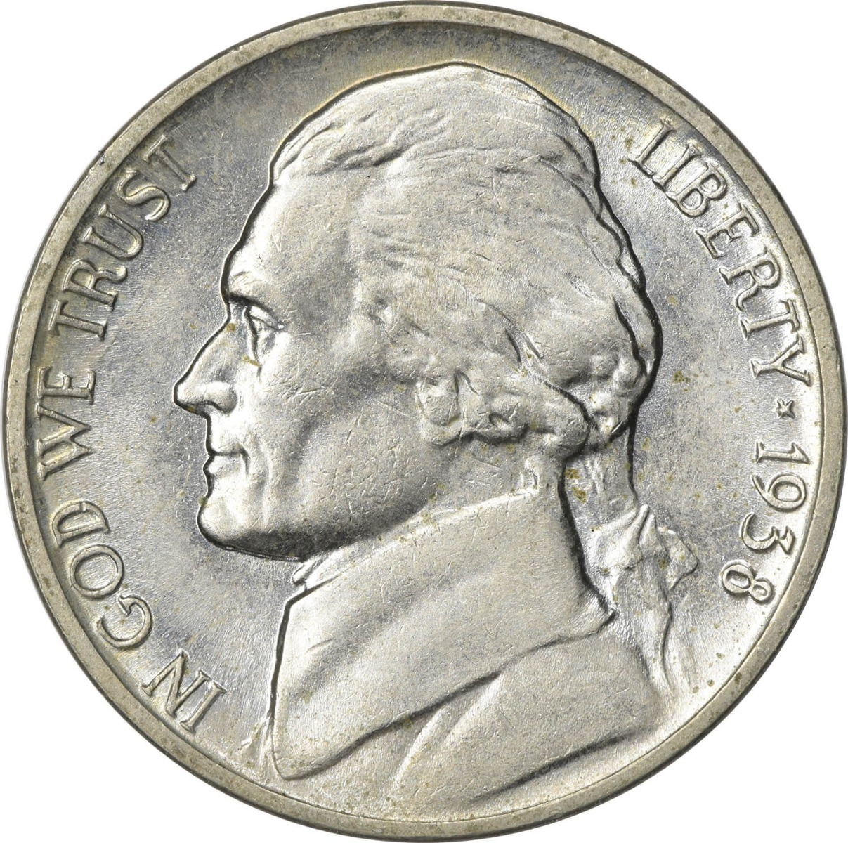 1938 Jefferson Nickel MS63 Uncertified