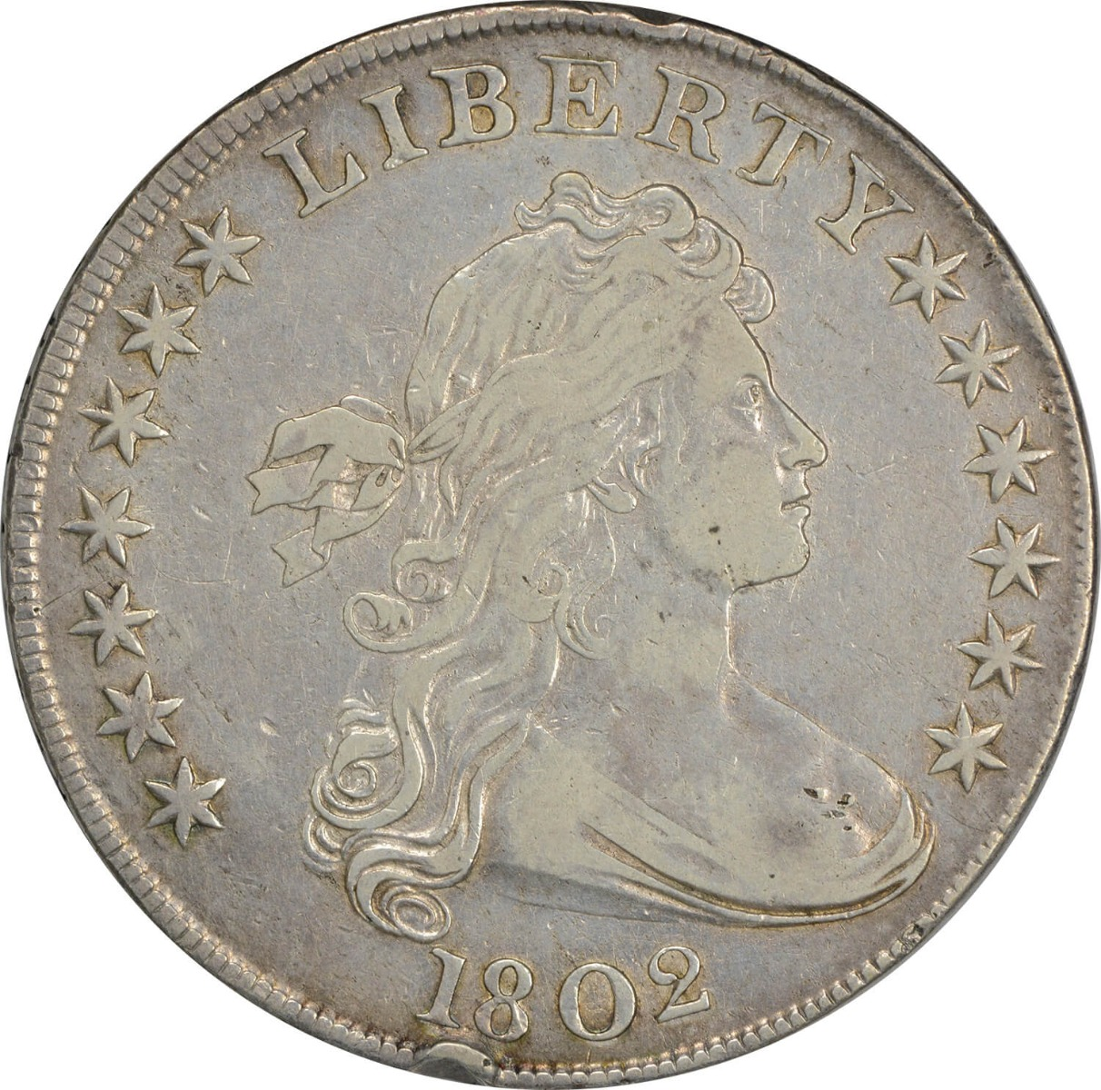 1802 Bust Silver Dollar EF (Rim Bump) Uncertified