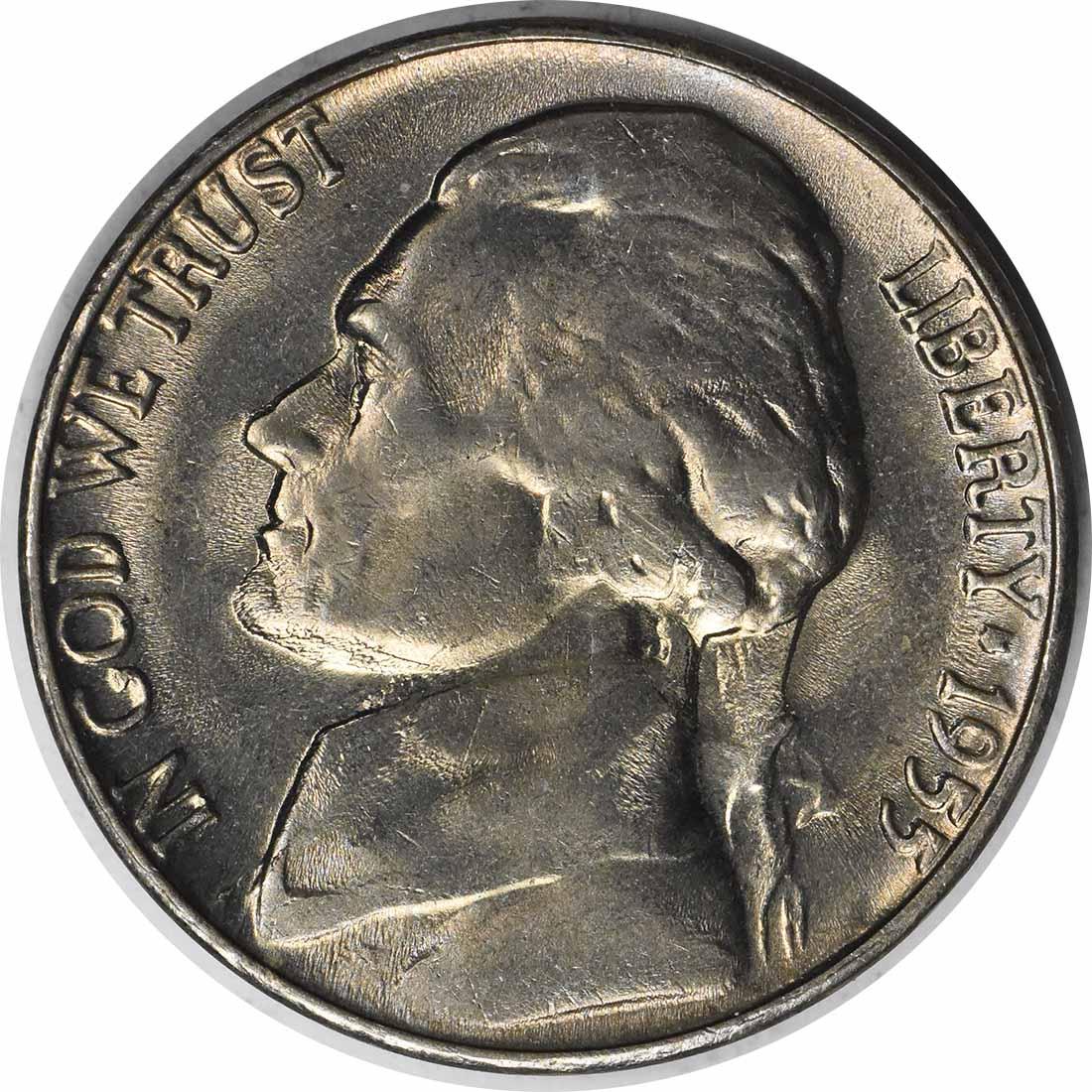 1955-D/S Jefferson Nickel OMM 4 MS64 Uncertified