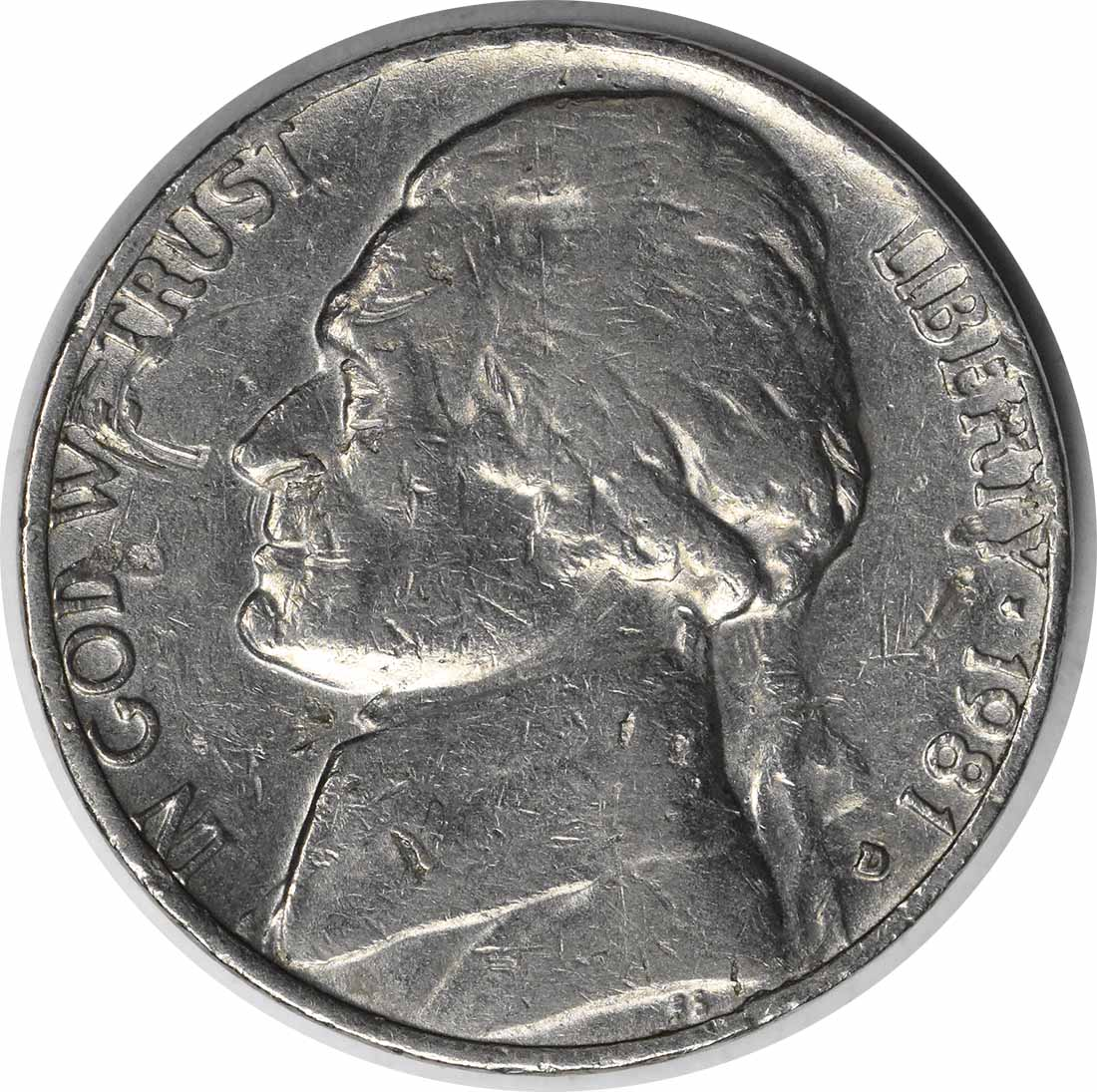 1981-D/D Jefferson Nickel RPM 1 EF Uncertified
