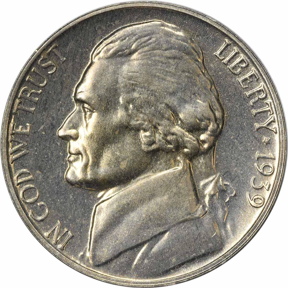 1939 Jefferson Nickel Reverse of 1938 PR64 Uncertified