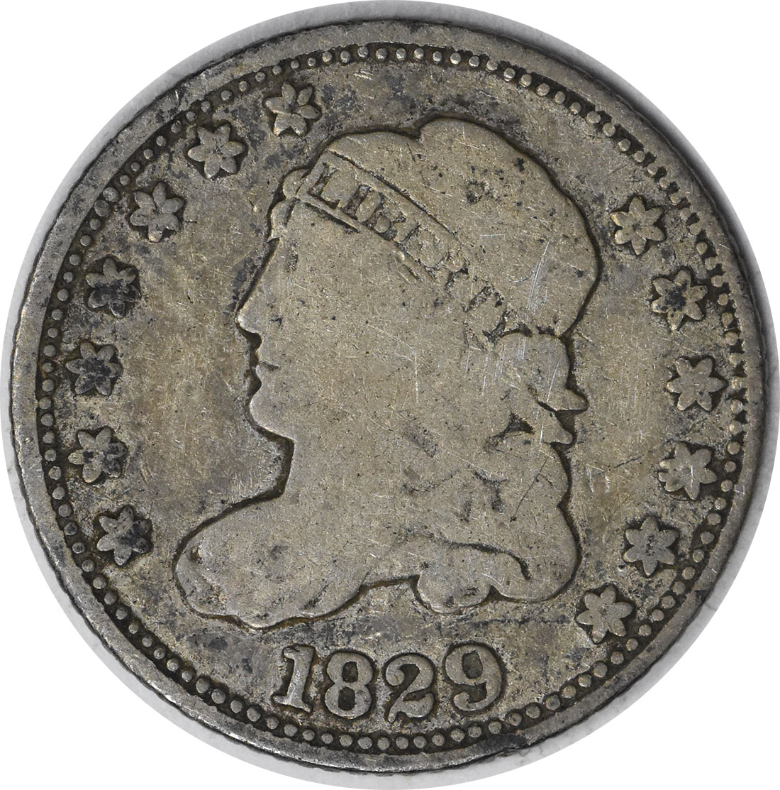 1829 Bust Silver Half Dime F Uncertified
