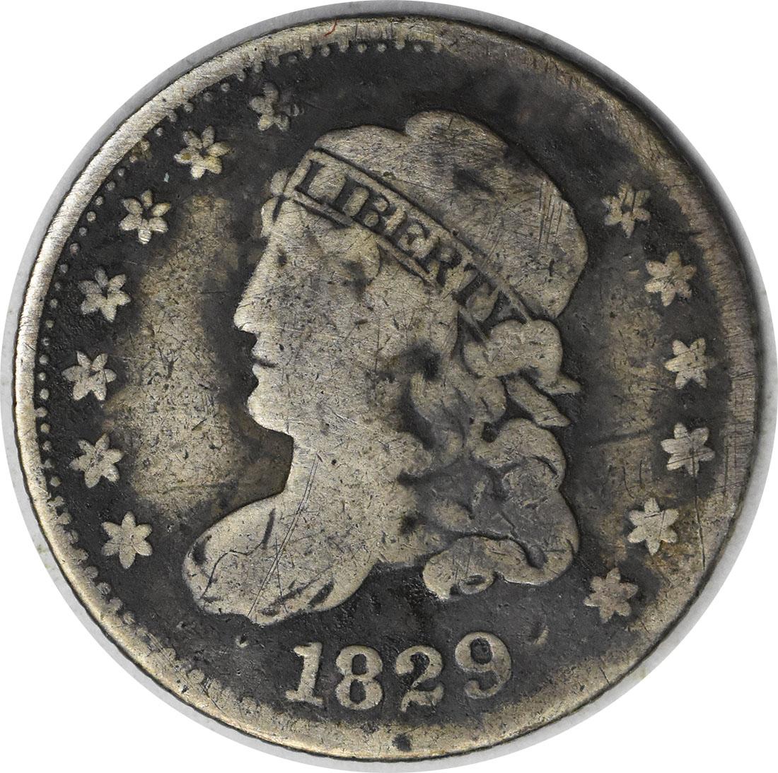 1829 Bust Silver Half Dime VG Uncertified