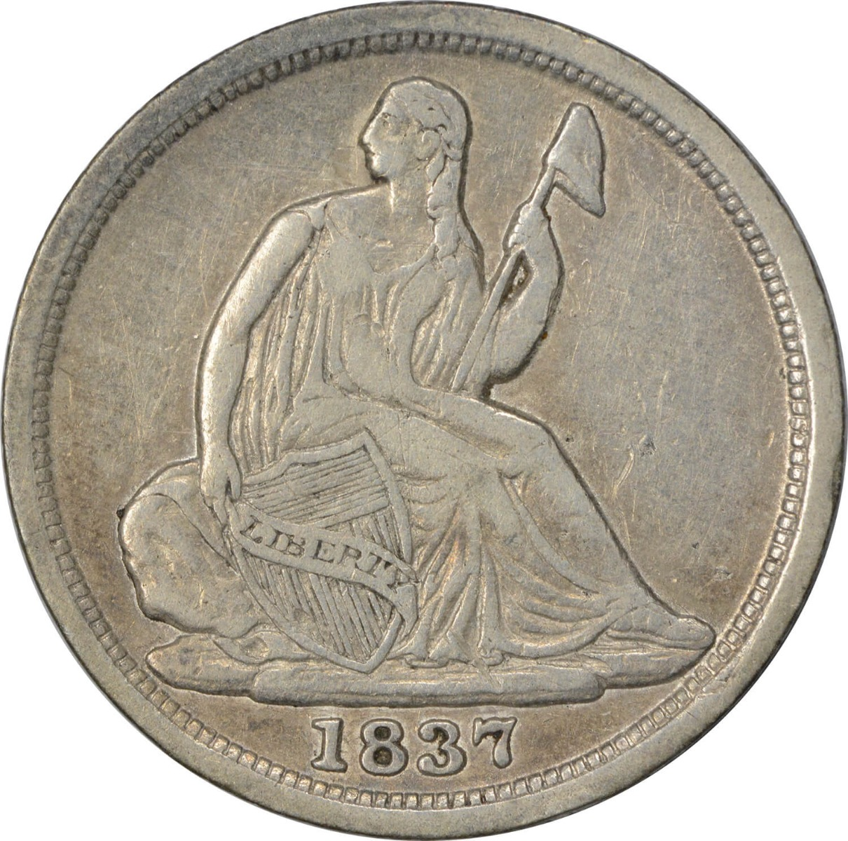 1837 Liberty Seated Silver Half Dime, No Stars, Small Date, EF, Uncertified