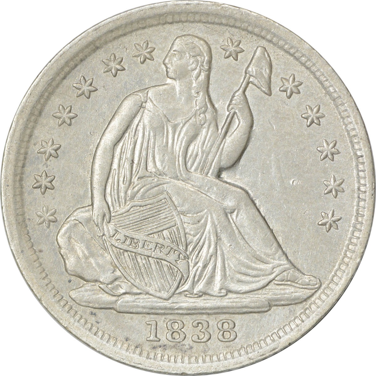 1838 Liberty Seated Silver Half Dime, No Drapery, Large Stars, AU58, Uncertified