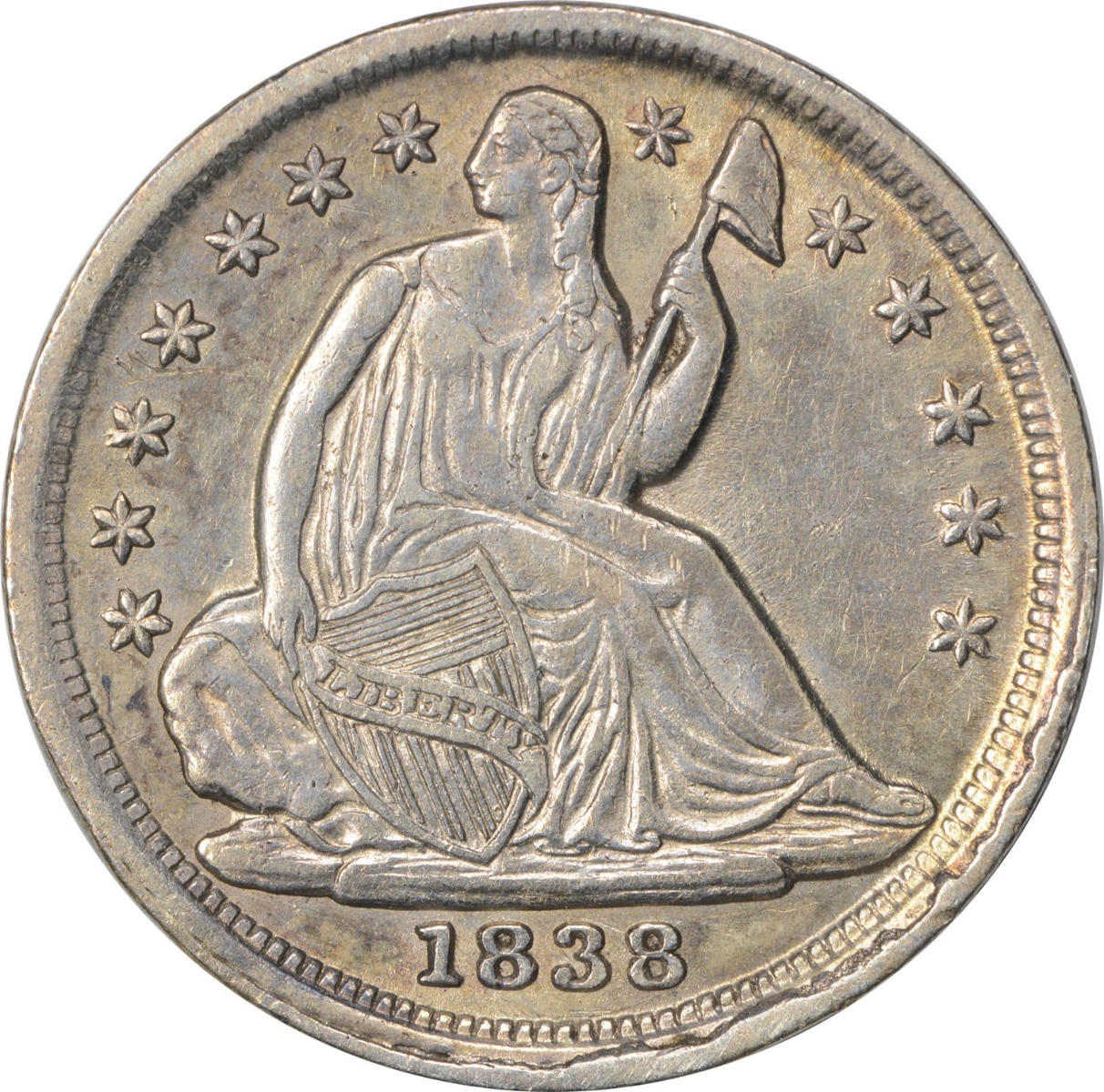 1838 Liberty Seated Silver Half Dime, No Drapery, Large Stars, AU, Uncertified