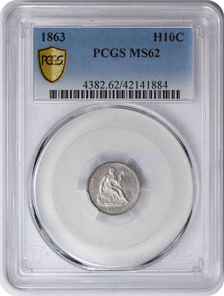 1863 Liberty Seated Silver Half Dime MS62 PCGS