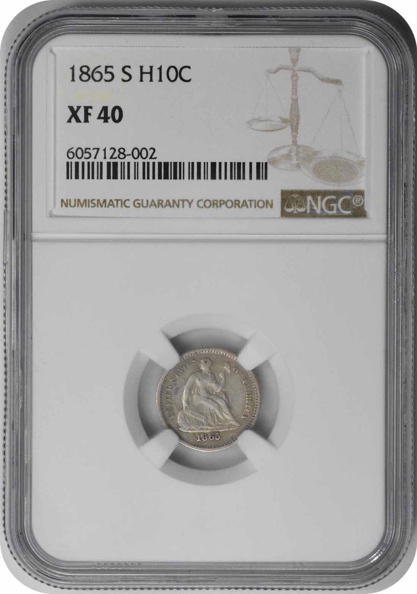 1865-S Liberty Seated Silver Half Dime EF40 NGC