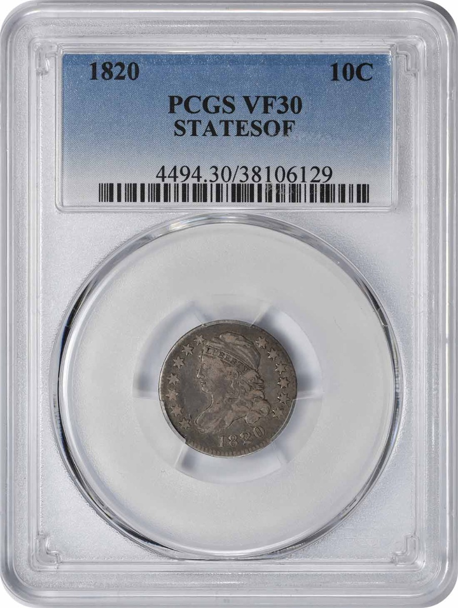 1820 Bust Silver Dime STATESOF VF30 PCGS