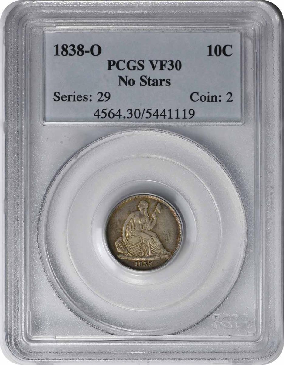 1838-O Liberty Seated Silver Dime No Stars VF30 PCGS