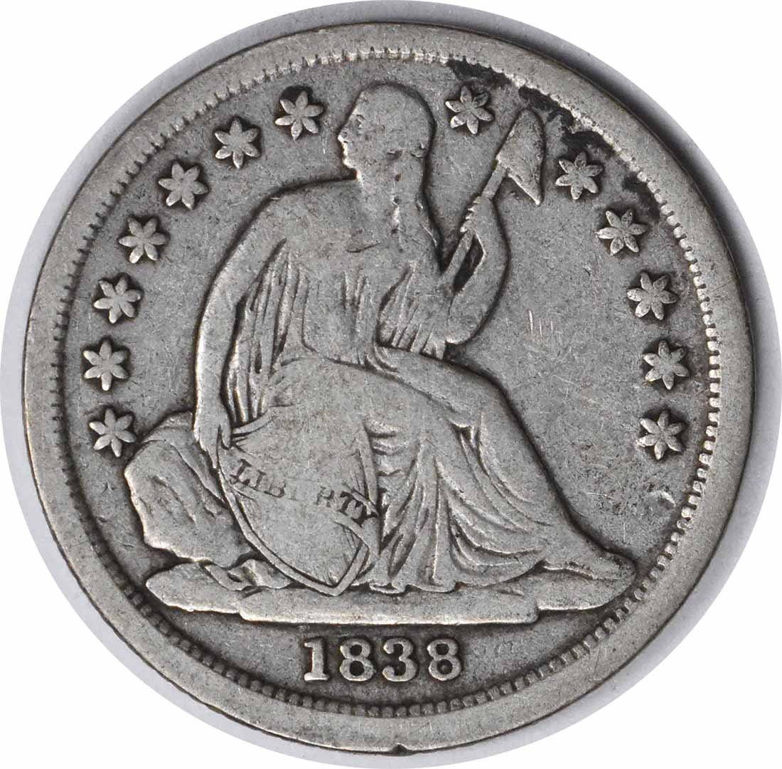 1838 Liberty Seated Silver Dime No Drapery Large Stars F Uncertified