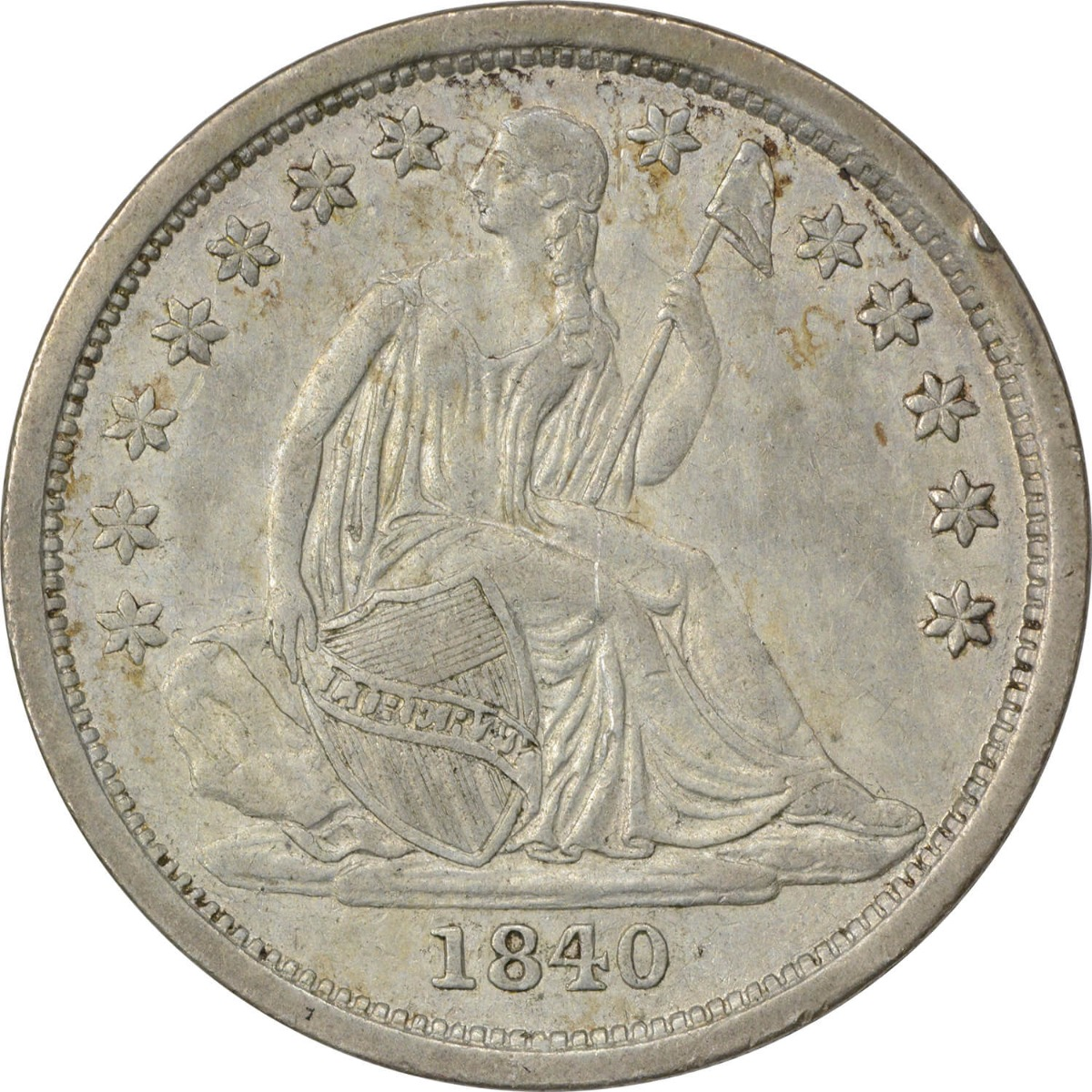 1840 Liberty Seated Silver Dime, No Drapery, AU, Uncertified