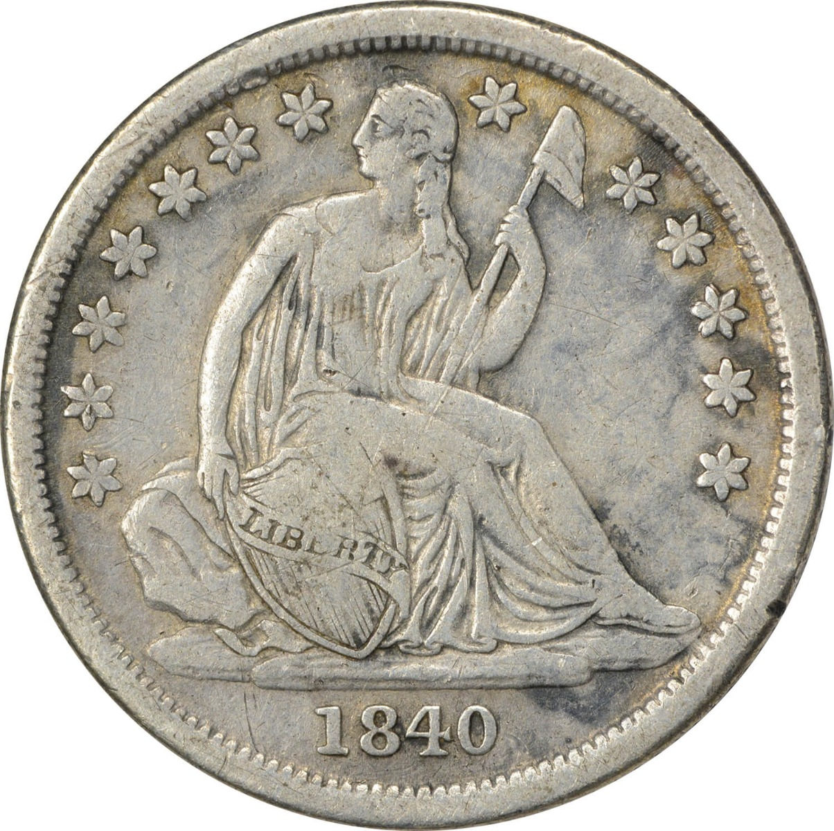 1840-O Liberty Seated Silver Dime, No Drapery, VF, Uncertified