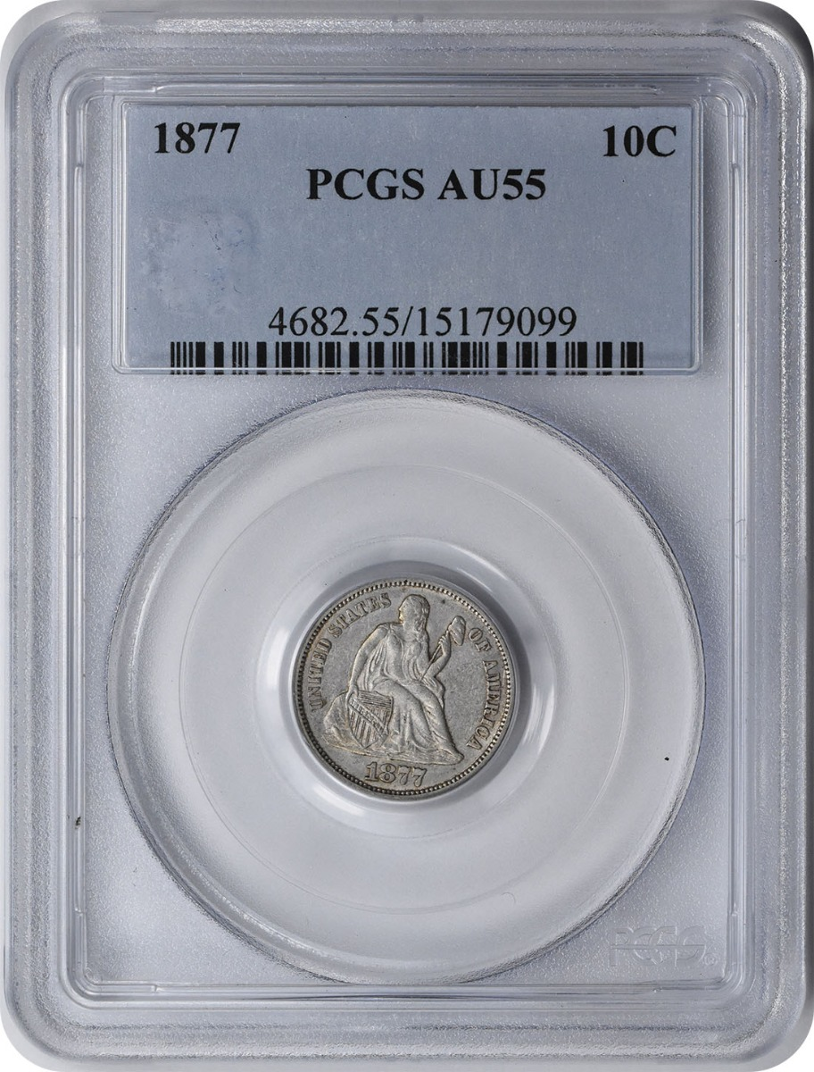 1877 Liberty Seated Silver Dime AU55 PCGS