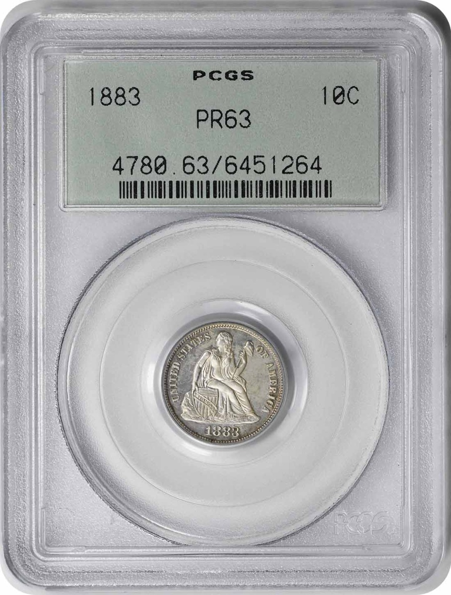 1883 Liberty Seated Silver Dime PR63 PCGS