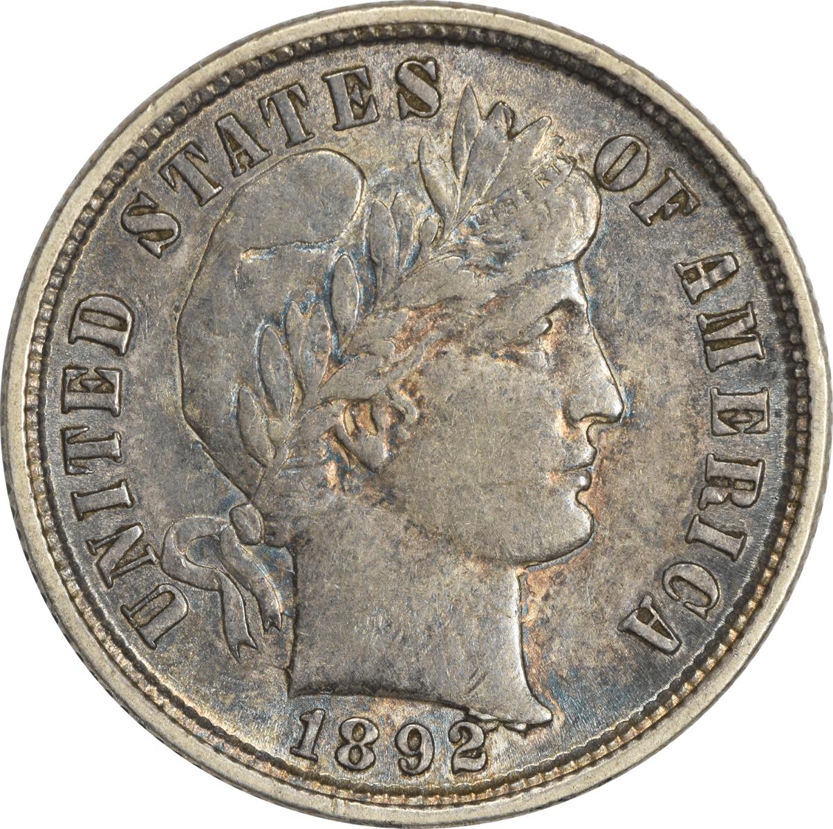 1892 Barber Silver Dime, AU, Uncertified