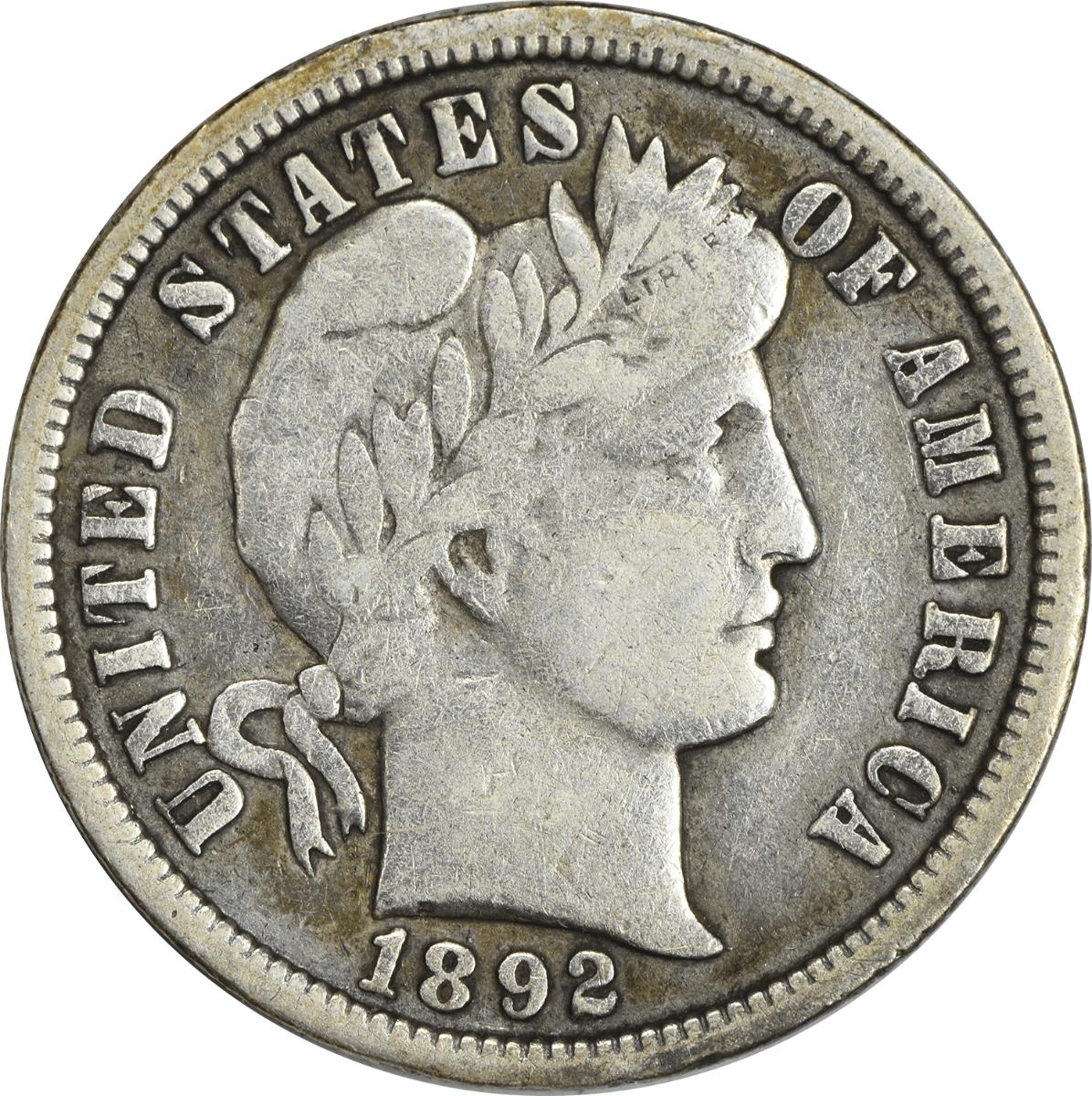 1892-O Barber Silver Dime F Uncertified