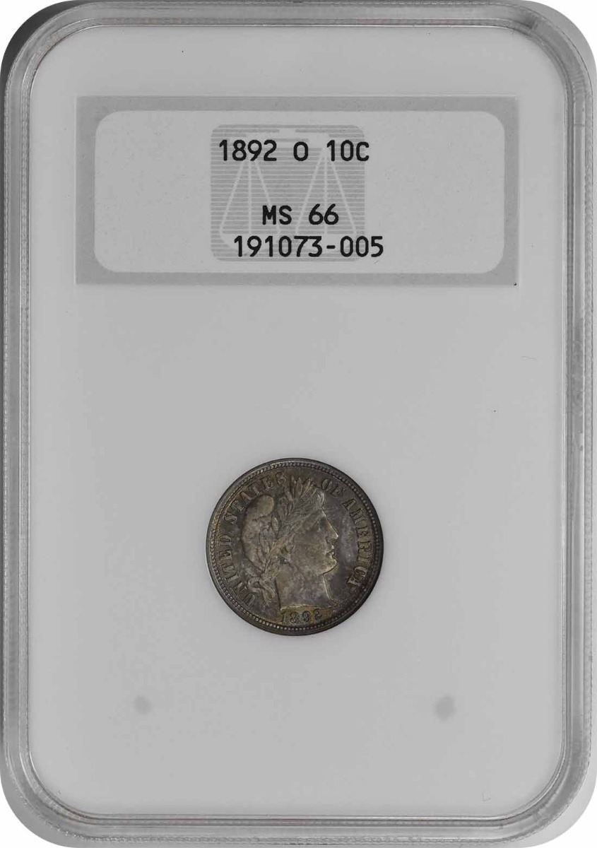 1892-O Barber Silver Dime MS66 NGC