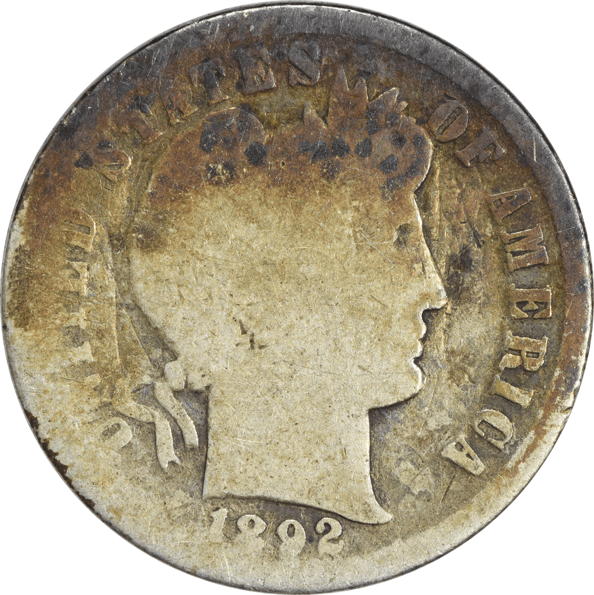 1892-S Barber Silver Dime AG Uncertified