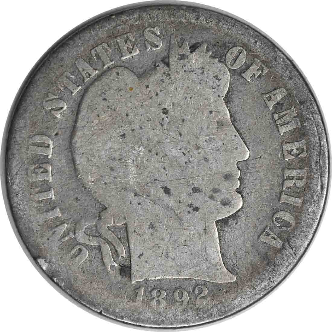1892-S Barber Silver Dime G Uncertified