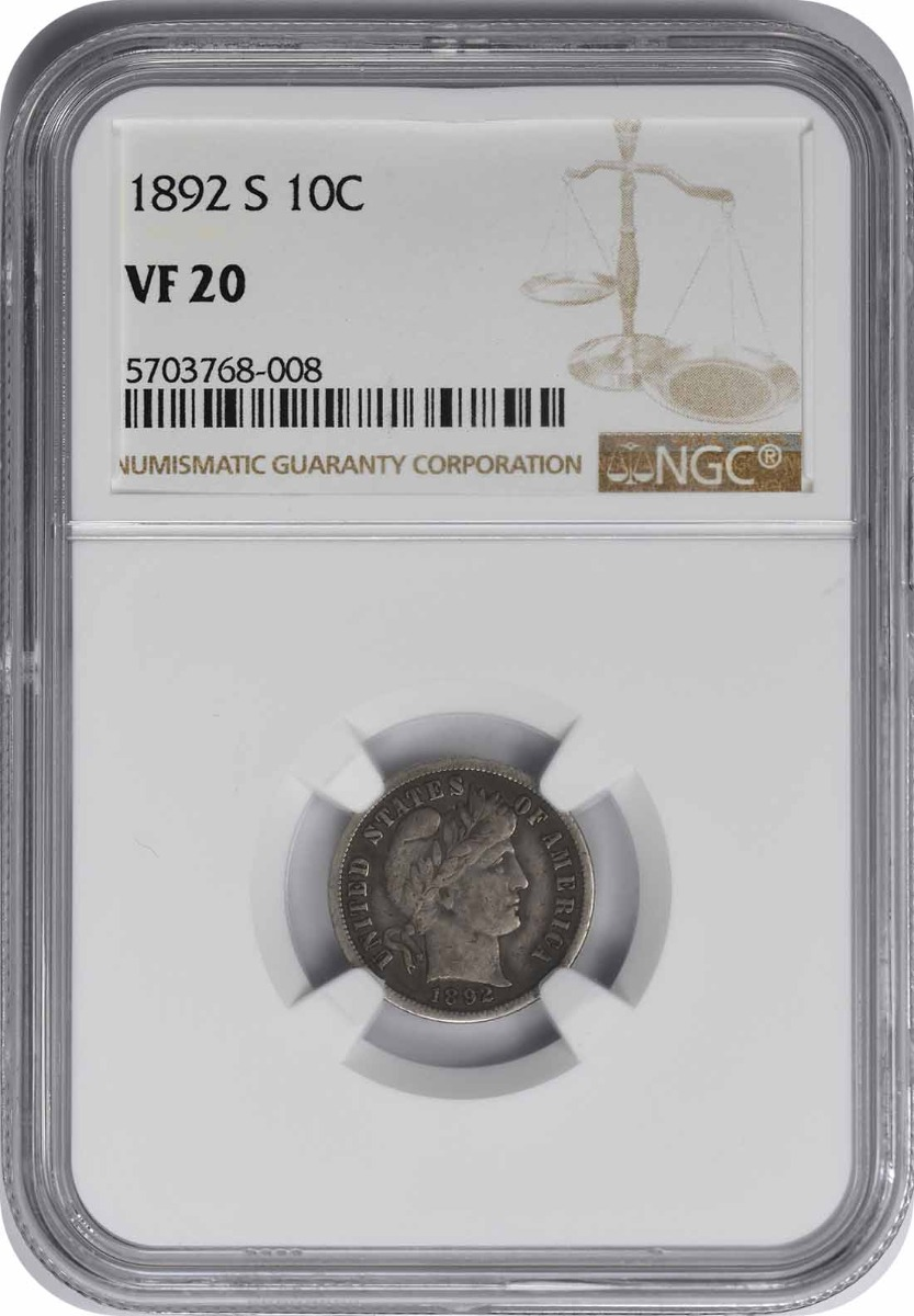 1892-S Barber Silver Dime VF20 NGC