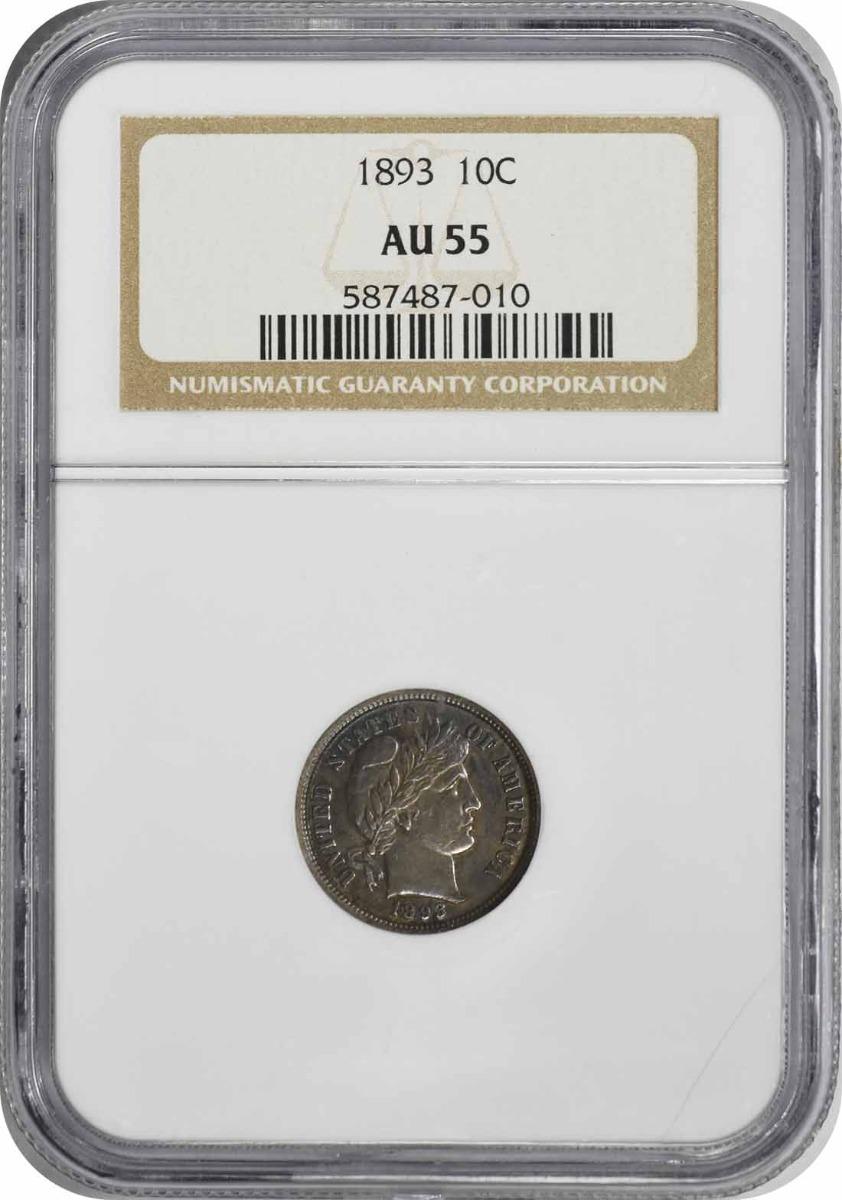 1893 Barber Silver Dime AU55 NGC