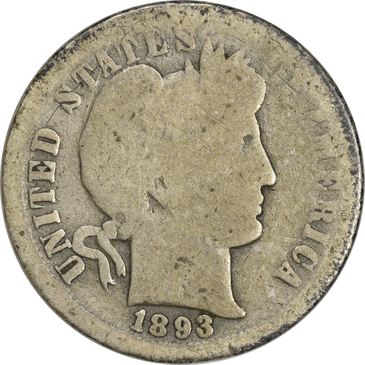 1893-O Barber Silver Dime G Uncertified