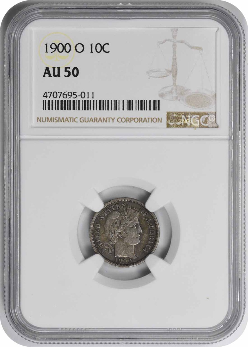 1900-O Barber Silver Dime AU50 NGC